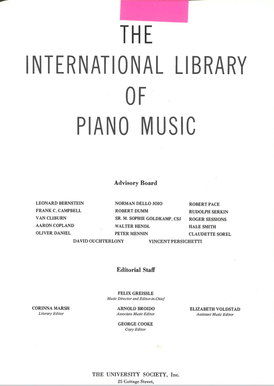Anthologies of modern and contemporary piano music (1940